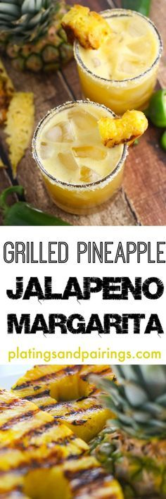 Grilled Pineapple Margaritas - (jalapeno) tequila - triple sec - grilled pineapple chunks - lime juice - agave - vanilla extract - citrus salt