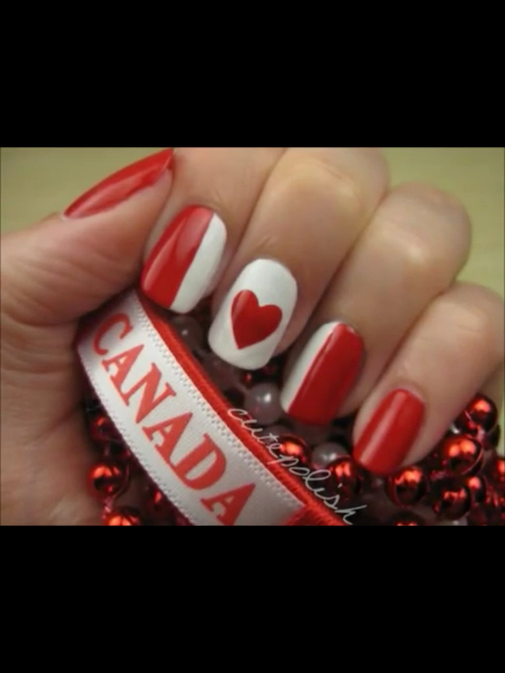 I like this idea for Canada day nails too... I tried a maple leaf last year and it was a disaster, but a heart I can handle.