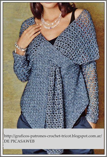 Hermoso y original sueter de crochet.