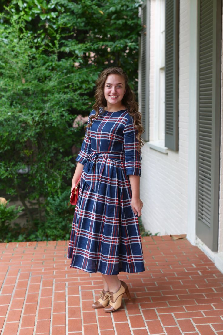modest fashion, modest bridesmaid dresses, modest clothing, modest dresses, modest skirt, modest top, modest apparel, hijab, long sleeves, 3/4 sleeves, modest swimwear, ruffles and lace, long dress, modest swimsuit, bow dress, lace dress, elegant, victorian, vintage, bridesmaid, wedding, flower girl, plus size, plaid navy Highlands Dress by Dainty Jewell's