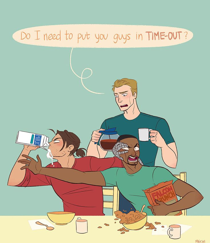 Sam won't share the cereal, so Bucky's chugging down the milk. Steve's the chaperone. | Artist: mechinaries #steverogers #samwilson #buckybarnes