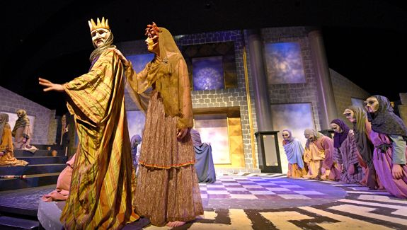 Jake Malavsky '15 played Oedipus the king of Thebes and Tasha Crossley '15 played Jocasta, his mother and wife. (Photo by Jim Inverso)
