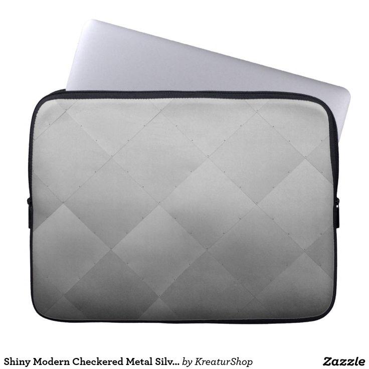 Shiny Modern Checkered Metal Silver Computer Sleeve
