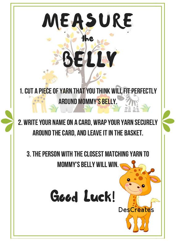 Perfect Jungle Theme Measure The Belly Baby Shower Game (INSTANT DOWNLOAD)