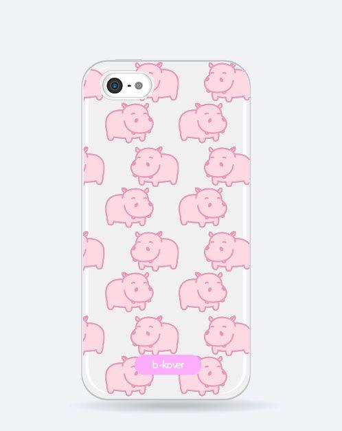 Funda móvil transparente Cute hipopótamos rosas | b-Kover