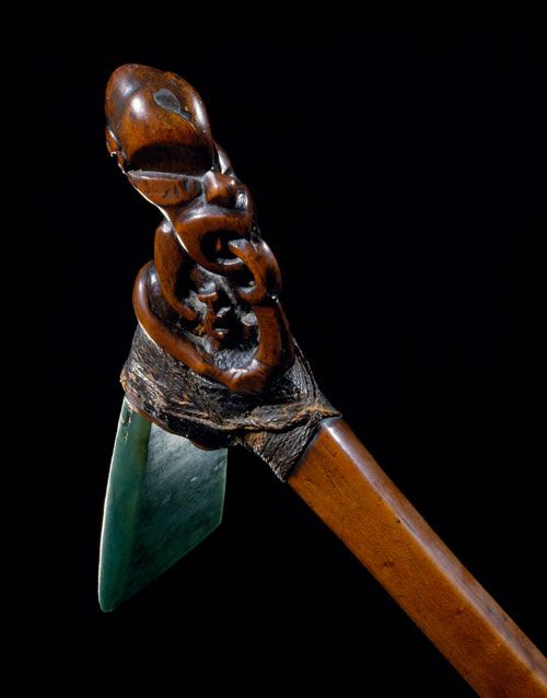 This is a toki poutangata or ceremonial adze. Description from teara.govt.nz. I searched for this on bing.com/images