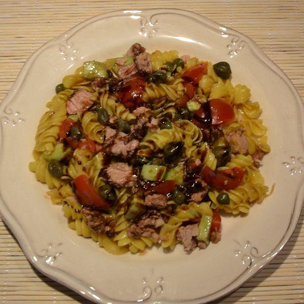 Turmeric flavored Fussili with Tuna