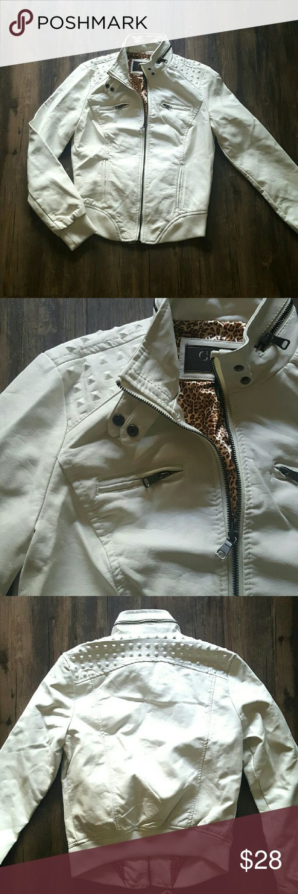 Vegan White Leather Jacket New Vegan Leather Jacket Off White Detailed on shoulders 4 pockets fully lined  New with tags Jackets & Coats