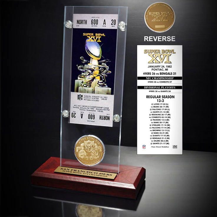 San Francisco 49ers Super Bowl XVI Ticket and Game Coin Acrylic Display - $31.99