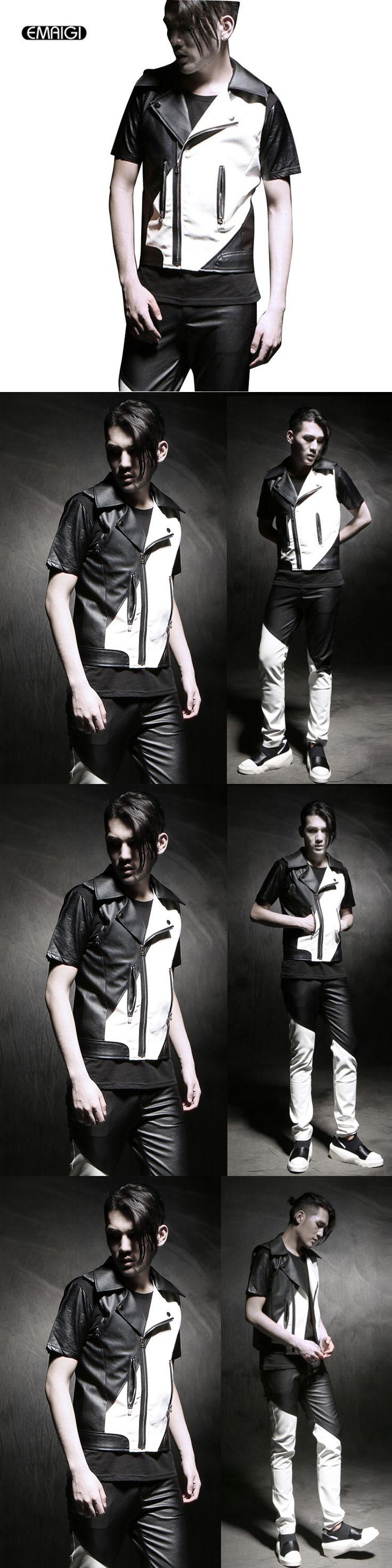 Men Leather Vest Fashion Slim Fit Sleeveless Jacket Waistcoat Black White Splice Punk Motorcycle Vest Male Stage Costume A425