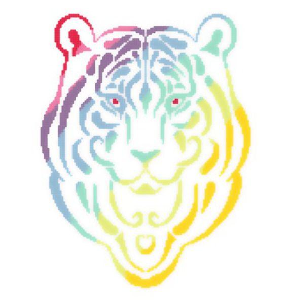 """Grille de Kalys - Point de Croix """"Tigre Rainbow"""" - Envoi Papier"""