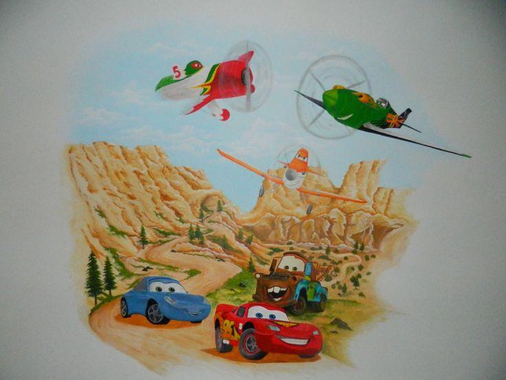muurschildering cars en planes