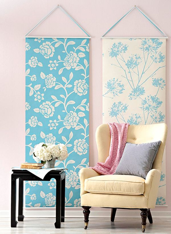 use rolls of wallpaper to create unique and inexpensive wall art source bhg www