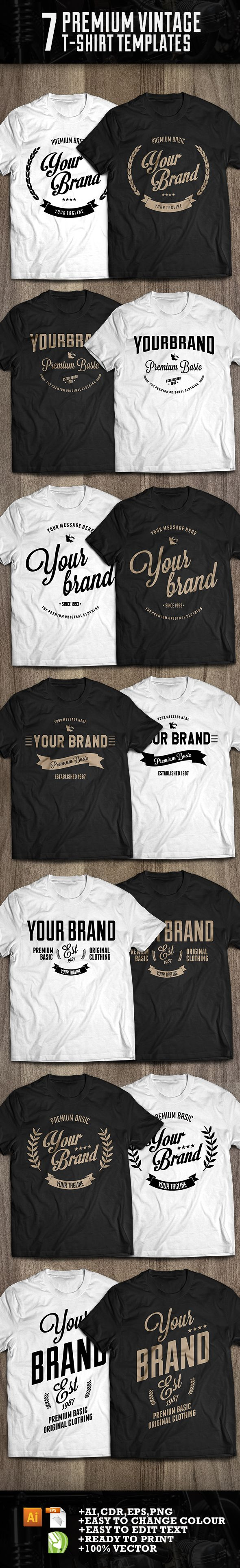 7 premium t-shirt template by Lazy Bones, via Behance