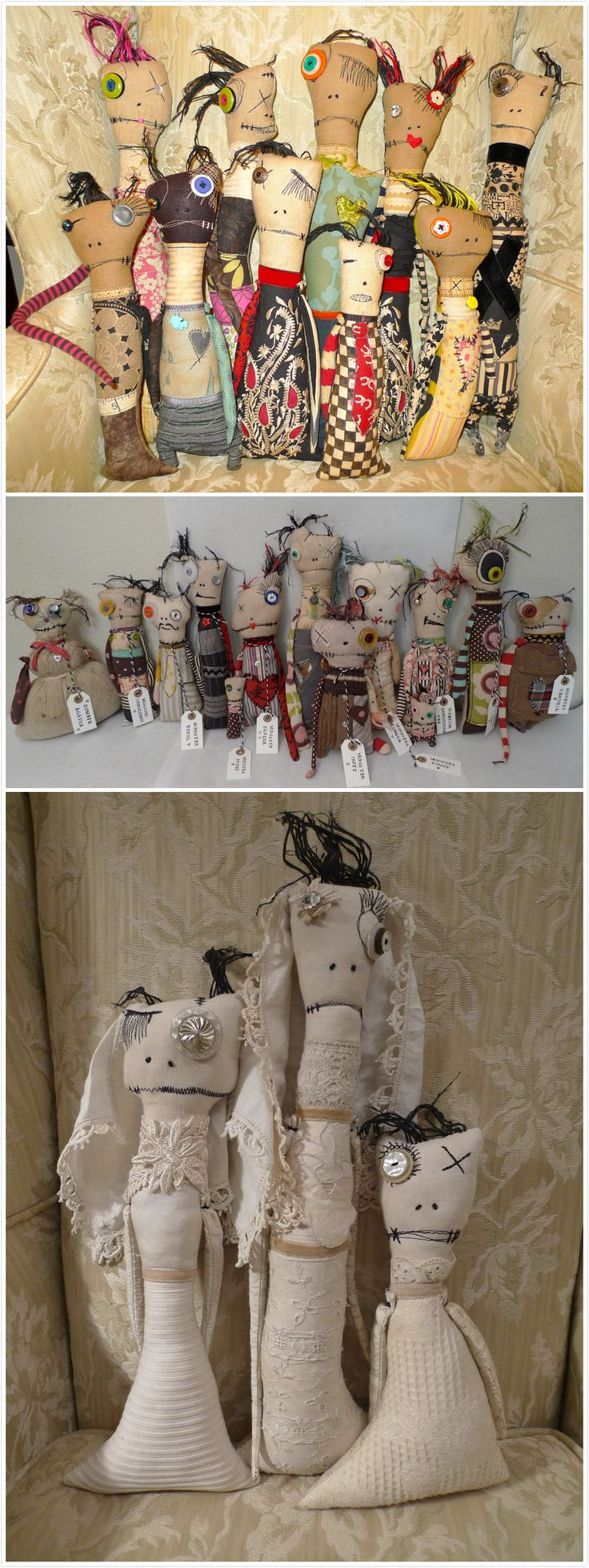 Monster Rag Doll & Little Creepers by twisted root studio
