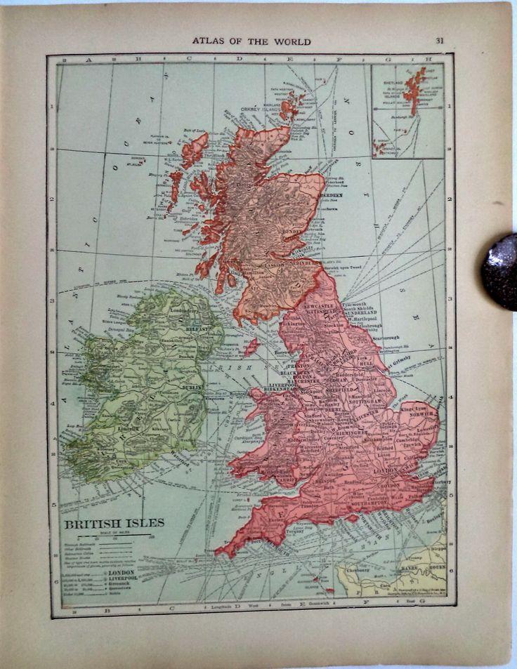 Mapa London%0A Double Antique Hammond Map BRITISH ISLES ENGLAND WALES      Cities Railway  etc
