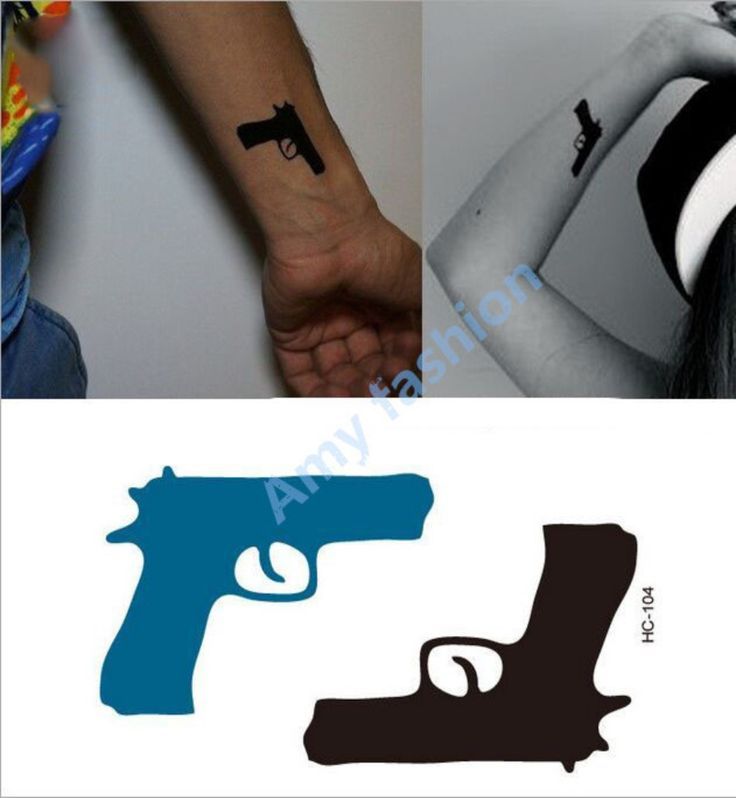 TATY Design Flash Tattoo Removable Waterproof Gold Tattoo Metallic Temporary Golden Gun Tattoos Stickers Body Art Tatoo