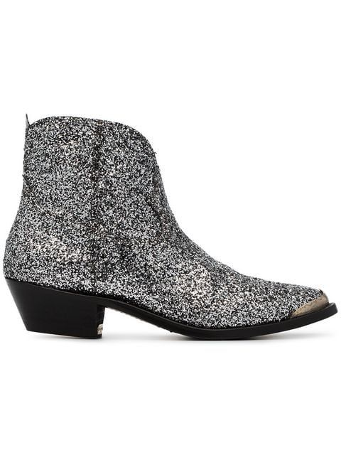 3eea4435808 Golden Goose Silver Young 50 Glitter Embellished Cowboy Boots in ...