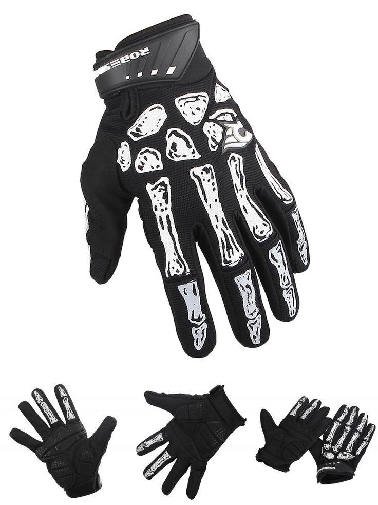 [Visit to Buy] GZDL 1 Pair Men Skull Bone Sport Winter MTB GEL Full Finger Gloves BMX Mountain Bike Bicycle Cycling Riding Motorcycle MTB9195 #Advertisement