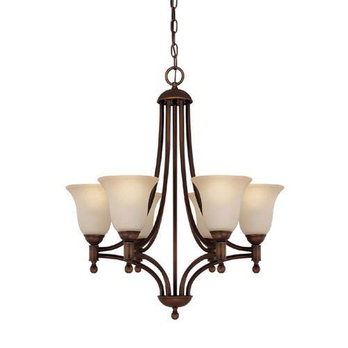 Photon 6 light burnished bronze fluorescent chandelier with mist scavo glass at menards
