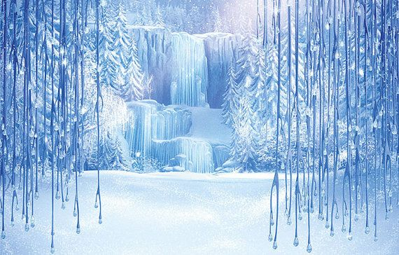 Frozen background for photo backdrop; digitally printed vinyl banner with matte finish. The material and inks are waterproof so no need to worry