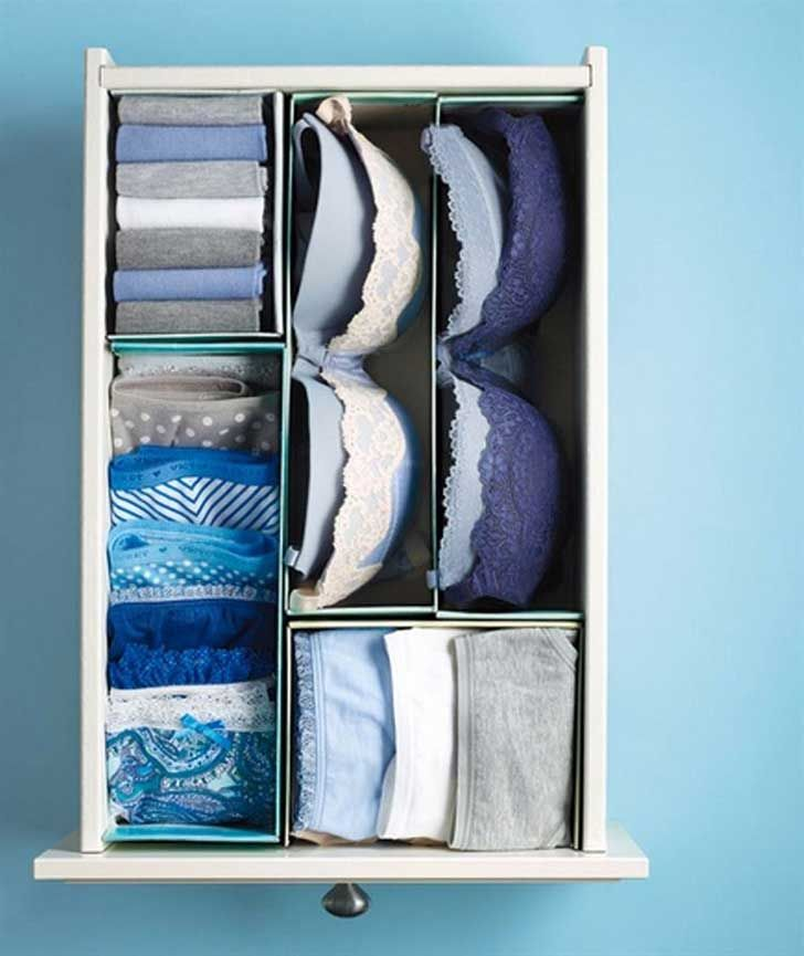 trucos-organizar-armarios-08...Recicla cajas pequeñas de cartón u otro material para colocar tu ropa íntima