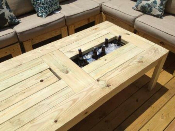 Beer cooler coffee table projects for later pinterest for Table with cooler in middle