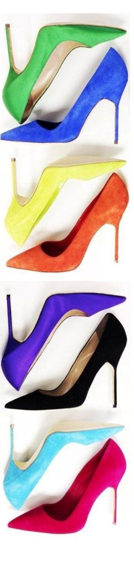Manolo Blahnik. Great colours. But for a fraction of the cost we would have our shoes dyed in any of these colours and many others besides. See for your self. Peter Greenaway from The Wedding Boutique bridal shop Carlisle
