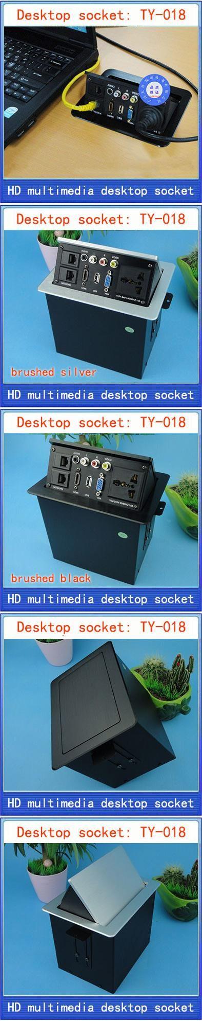 Desktop socket / new / hidden multimedia information box outlet / HD HDMI network RJ45 video Audio USB VGA desktop socket TY-018