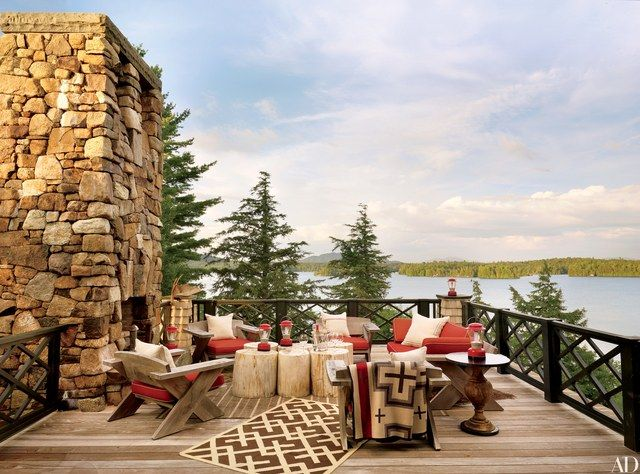 Inspired by the fabled Gilded Age great camps in New York's Adirondack Mountains, architecture firm Shope Reno Wharton and designer Thom Filicia created a ravishing family retreat on the shores of Upper Saranac Lake.