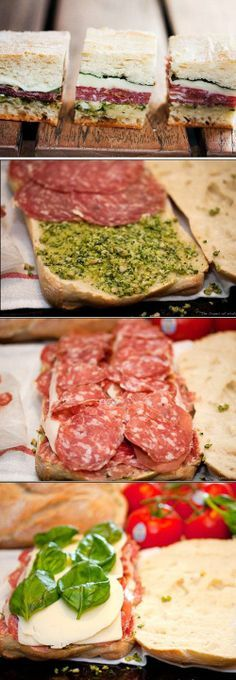 Pressed Picnic Sandwiches:  ciabatta bread,  fresh pesto, sweet sopressata, prosciutto, provolone cheese, mozzarella cheese, basil leaves