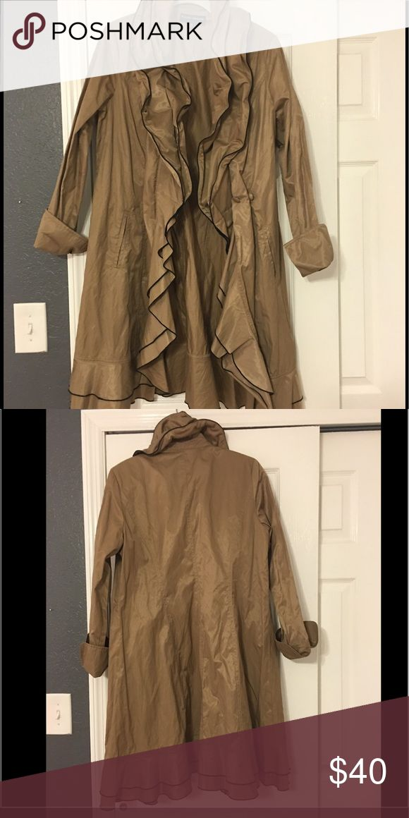 Raincoat Cute raincoat with double ruffle collar. Collar has wire in it so you can shape it however you'd like. Button closure. I have maybe worn it once if anything at all. randy kemper Jackets & Coats Trench Coats