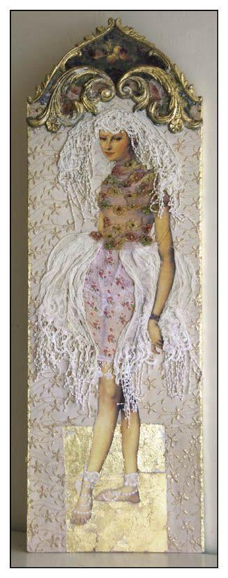 "Margriet Thissen/ Wandpaneel Mlle. Suzette. Ca 120x50 cm. Verkocht. Margriet Thissen, wall panel Mlle. Suzette. Approx  47x19,5"". Sold"