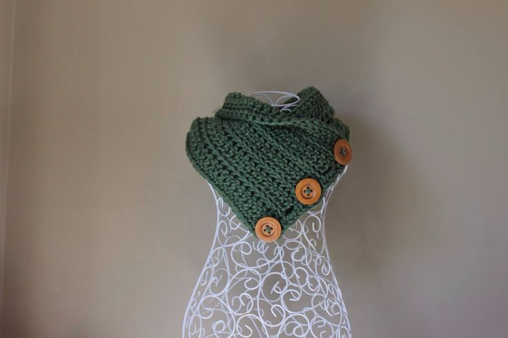 Crochet button cowl, chunky, sage green, rustic, scarf, handmade, neck warmer, by RusticRoseByKaren on Etsy https://www.etsy.com/au/listing/455316944/crochet-button-cowl-chunky-sage-green