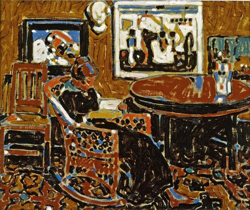 David Milne (Canadian, 1882-1953), Interior with Paintings, 1914. Oil on canvas. 50.7 x 61 cm. Winnipeg Art Gallery.