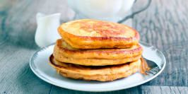 Make your weekend breakfast special! These hearty pancakes are made with wholesome ingredients and naturally sweetened with bananas and a touch of honey.