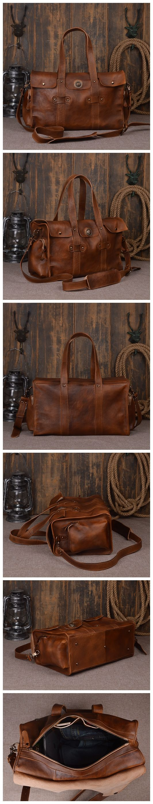 HANDMADE LARGE VINTAGE FULL GRAIN LEATHER TRAVEL BAG, DUFFLE BAG, HOLDALL LUGGAGE BAG, WEEKENDER BAG