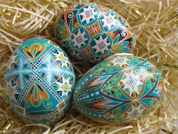 Ukrainian Easter egg Pysanka, Blue Intricate