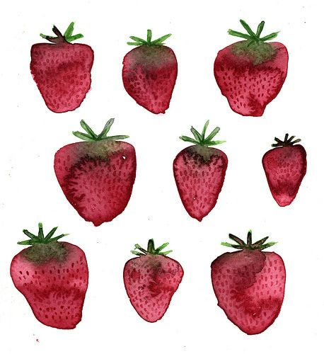 Strawberries: Fruit Pizza, Watercolor Strawberries, Watercolor Art Patterns, Strawberries Prints, Drawn Inspiration, Strawberries Fields, Food Art, Fruit Illustrations, Strawberries Drawings