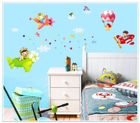 New Design Children Flying Dream Planes Balloon in Sky Wall Sticker Super for Boys Room Wall Decals