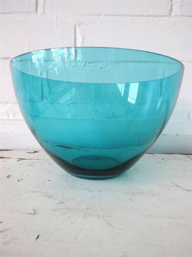 Vintage Scandinavian Greenish Blue Glass Bowl Nuutajarvi Notsjo by Kaj Franck