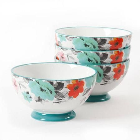 "The Pioneer Woman Flea Market 6"" Decorated Footed Bowls, Floral & Teal, Set of 4 - Walmart.com $15.78"
