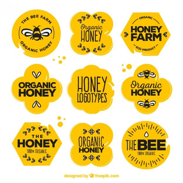 adesivos de mel orgânico bonitas com desenhos set Vetor grátis