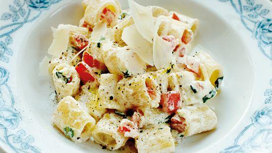 Skär tomaterna i klyftor. Ta bort alla frän och hacka resten i små bitar. Lägg upp i en stor serveringsskål. Blanda ner ricotta, olivolja, basilika, salt och peppar.  Koka upp 4 liter vatten, salta lätt. Koka pastan enligt minutanvisningarna på förpackningen. Blanda den kokta pastan med tomaterna och ricottan och rör om ordentligt. Servera med grovt riven parmesan och olivolja