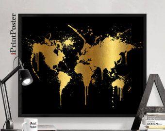 Wereld kaart poster aquarel wereld kaart Art Print door iPrintPoster