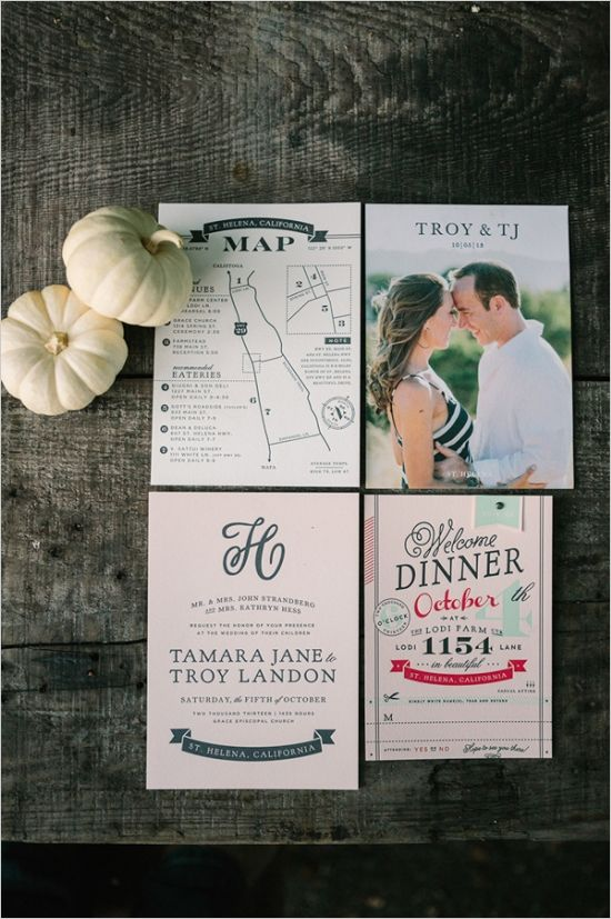 fall inspired wedding invites #napawedding #destinationwedding #weddingchicks http://www.weddingchicks.com/2014/01/02/gold-and-white-wedding/