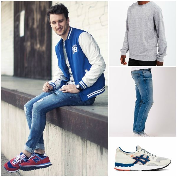 blue mens varsity jacket outfit grid