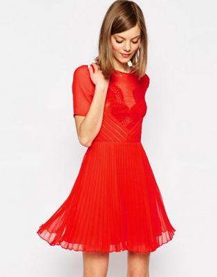 ASOS Lace and Pleat Skater Mini Dress