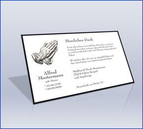 Dankeskarte Trauer 'Trauerrand Betende Hände Klassisch'