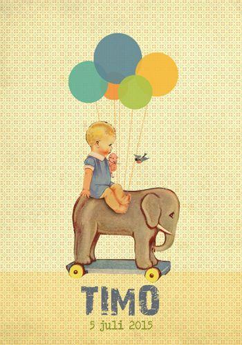 Geboortekaartje Lina - Pimpelpluis - https://www.facebook.com/pages/Pimpelpluis/188675421305550?ref=hl (# retro - jongen - speelgoed olifant - ballon - vintage - paper doll - lief - schattig - origineel)